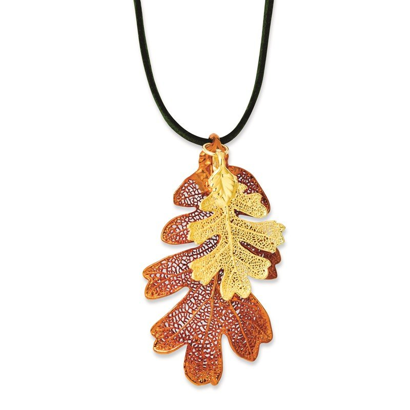 Quality Gold Iridescent Copper/24k Gold Dipped Oak Leaf Necklace w/ Leather Cord