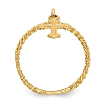 14k Cross Dangle Twisted Band Child's Ring