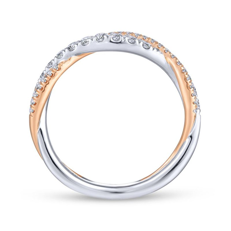 14K White-Pink Gold Matching Wedding Band