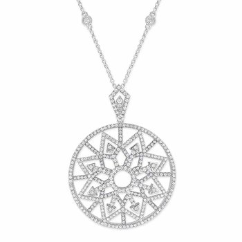 Diamond Fashion Necklace in 14K White Gold with 386 Diamonds Weighing  1.72ct tw