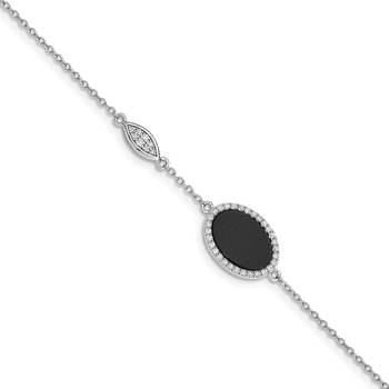 Sterling Silver Rhodium-plated Oval Black Agate & CZ w/0.5in. Ext. Bracelet