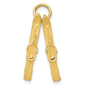 14K 3D Pair Of Skis Charm