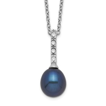 Sterling Silver Rhod-plat 7-8mm Black FWC Pearl CZ Necklace