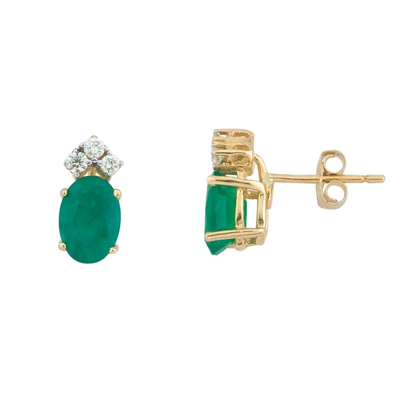 Color Merchants 14k Yellow Gold Emerald And Diamond Oval Earrings