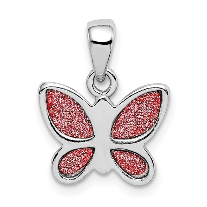 Quality Gold Sterling Silver Rhodium-plated Glitter Infused Polished Butterfly Pendant