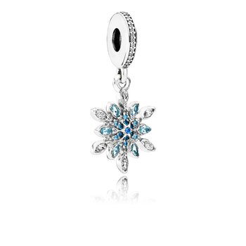 Crystalized Snowflake Dangle Charm, Blue Crystals Clear Cz