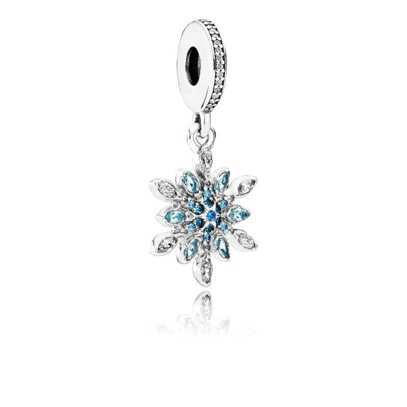PANDORA Crystalized Snowflake Dangle Charm, Blue Crystals Clear Cz