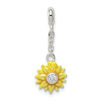 Sterling Silver Yellow Enameled Flower w/CZ 1/2in Dangle Enhancer