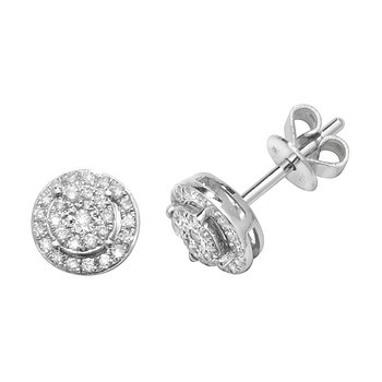 Diamond Illusion Cluster Earrings