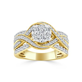14 KT Yellow gold with Round composite Engagement ring (1.25 CTW)