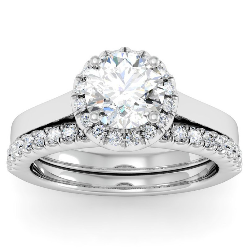California Coast Designs Halo Diamond Engagement Ring with Matching Wedding Band