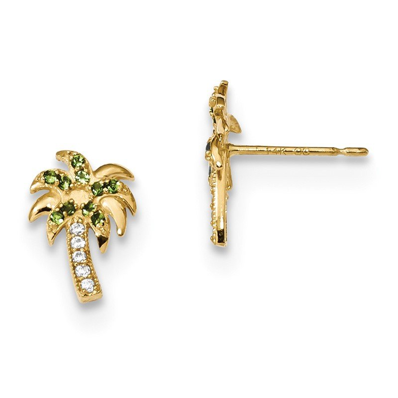 Quality Gold 14k Madi K Green & Clear CZ Palm Tree Post Earrings