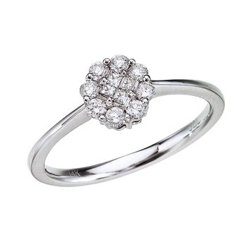 14K White Gold Diamond Clustaire Ring (.34 carat)