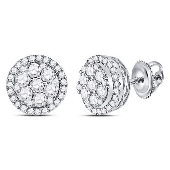14kt White Gold Womens Round Diamond Circle Frame Cluster Earrings 7/8 Cttw