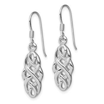 Sterling Silver Rhodium-plated Infinity Celtic Design Dangle Earrings