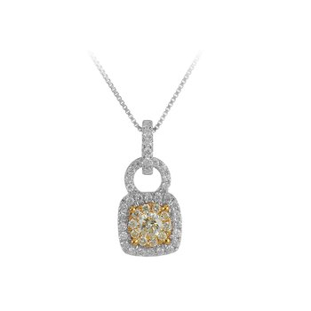 14K WY Gold with White and Fancy Yellow  Diamond Cushion Shape Halo Pendant in Prong Setting