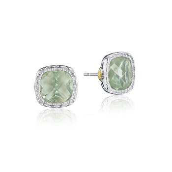 Cushion Gem Earrings with Prasiolite