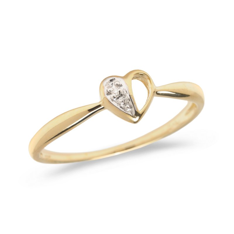 Color Merchants 14K Yellow Gold Diamond Heart Ring