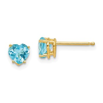 14k 5mm Heart Blue Topaz Earrings
