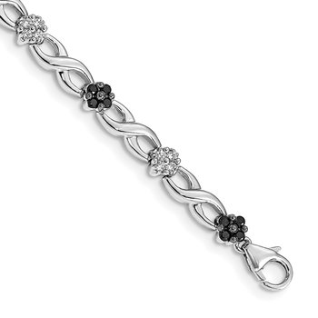 14k White Gold White and Black Diamond Flower Infinity Bracelet