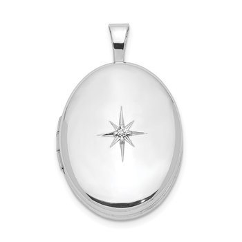 Sterling Silver Rhodium-plated & Diamond Polished 19mm Oval Locket
