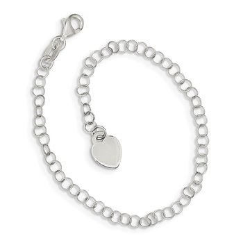 Sterling Silver Heart Charm Childs Bracelet