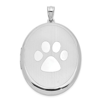 Sterling Silver Rhodium-plated Paw Print Ash Holder Oval Locket