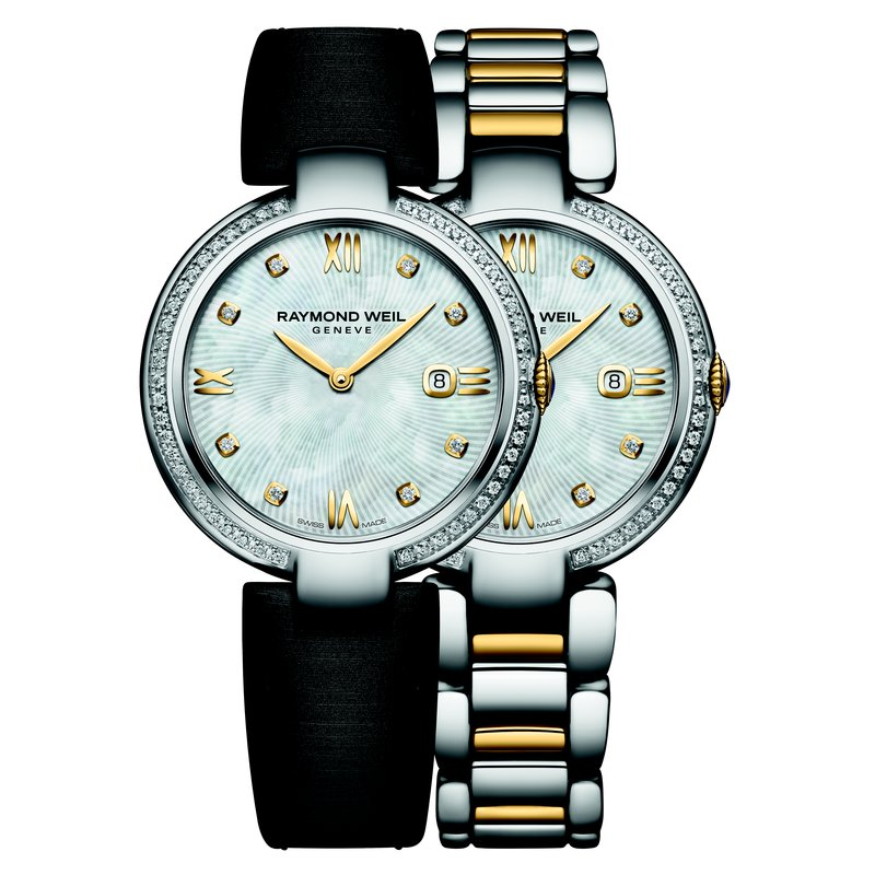 Raymond Weil Ladies Quartz Date Interchangeable Bracelet Watch, 32mm Two-tone 57 diamonds