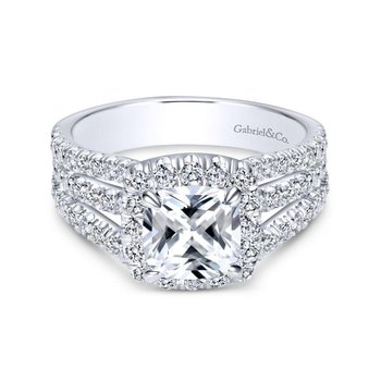 14k White Gold Diamond Cushion Cut Halo Triple Pave Engagement Ring