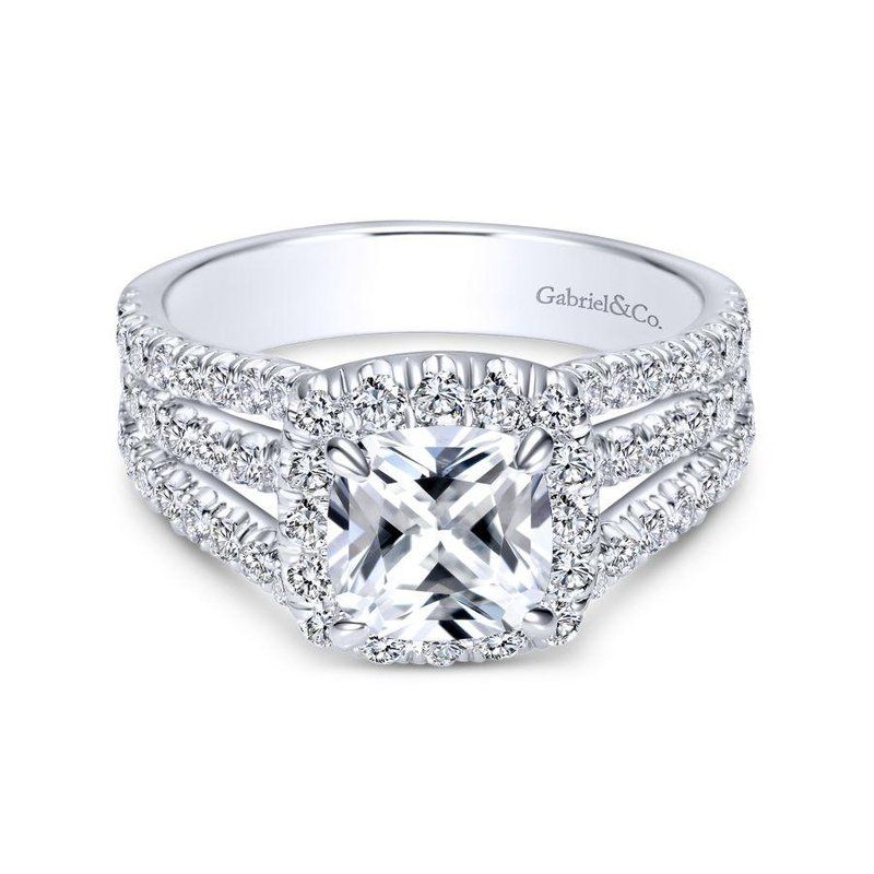 Gabriel Bridal 14k White Gold Diamond Cushion Cut Halo Triple Pave Engagement Ring