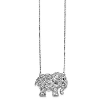 14k White Gold White/Black Diamond Elephant Necklace