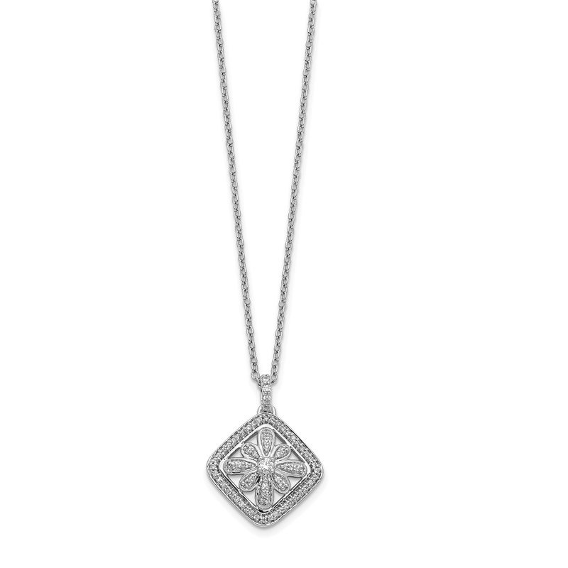 Quality Gold 14k White Gold Diamond Vintage 18 inch Necklace