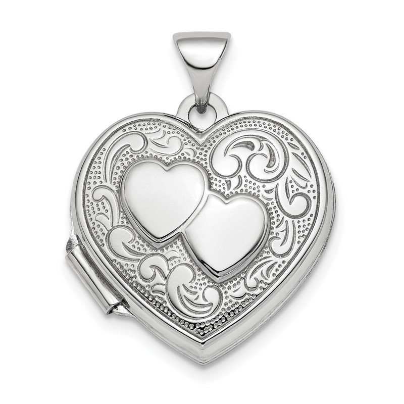 Quality Gold Sterling Silver Rhod-plated 2-Heart Design Front & Back 18mm Heart Locket