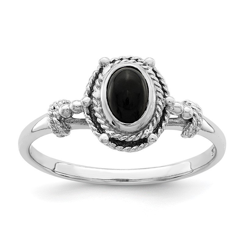 Quality Gold Sterling Silver Rhodium-plated with Black Oval Onyx Stone Ring
