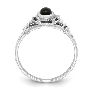 Sterling Silver Rhodium-plated with Black Oval Onyx Stone Ring