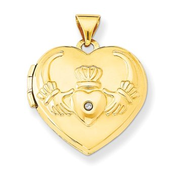 14k Diamond Claddagh Heart Locket