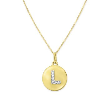 Diamond Uppercase Mini Disc Initial L Necklace