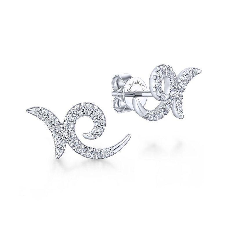 14K White Gold Diamond Swirl Stud Earrings