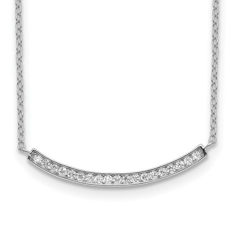 Quality Gold Sterling Silver Rhodium-plated CZ Fancy Bar Necklace
