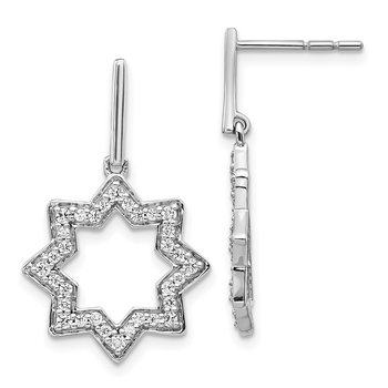 14k White Gold Diamond Fancy Dangle Star Earrings