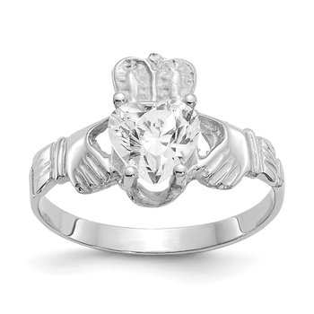 14k White Gold April CZ Birthstone Claddagh Ring