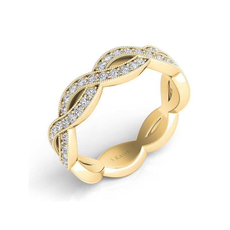 S. Kashi & Sons Bridal Yellow Gold Pave Wedding Band