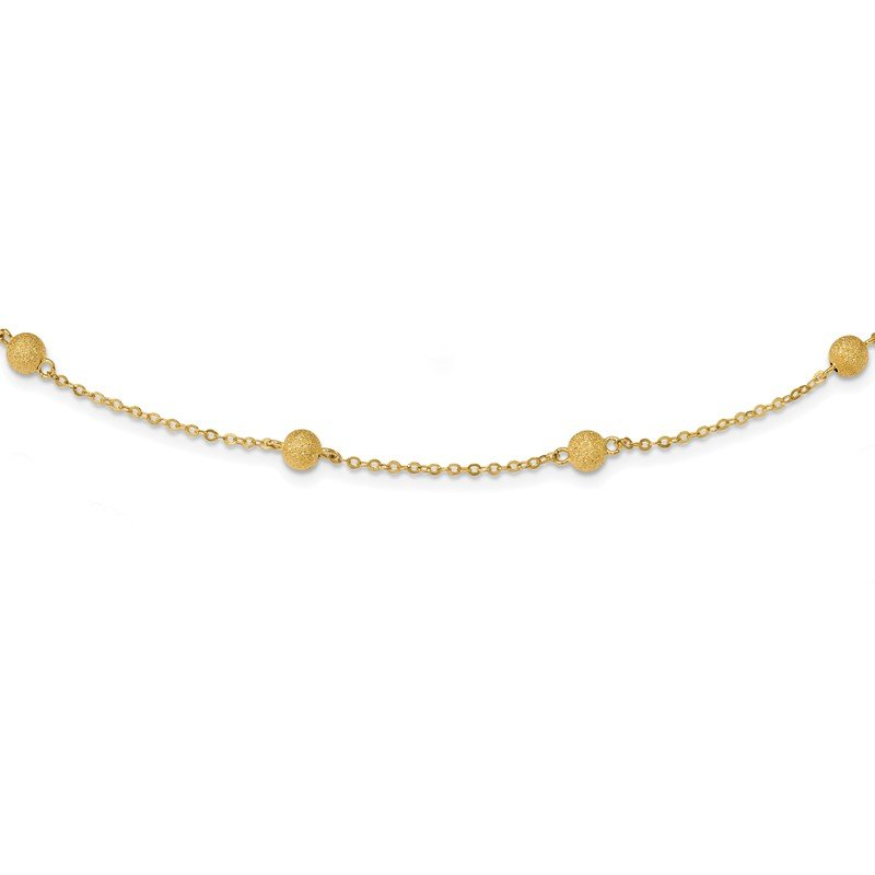 Quality Gold 14k Textured 7 Stations Ball Necklace