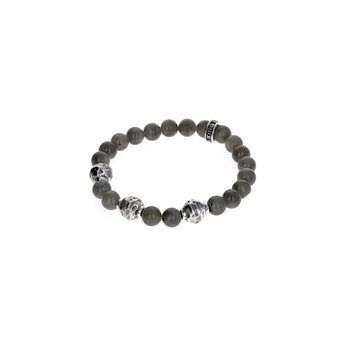 9Mm Labradorite Bracelet W/ Small Hammered Beads