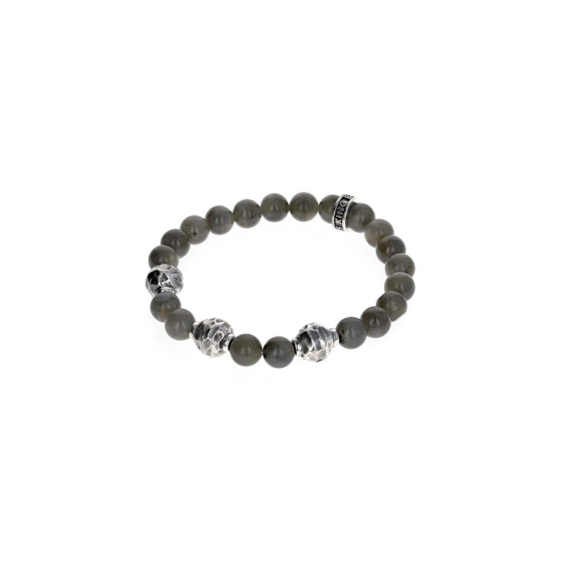 King Baby 9Mm Labradorite Bracelet W/ Small Hammered Beads