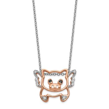 Cheryl M 18in Sterling Silver Rose-gold Plated CZ Flying Pig Necklace