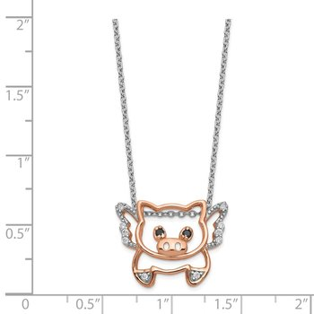 Cheryl M Sterling Silver Rose-gold Plated CZ Flying Pig 18in. Necklace