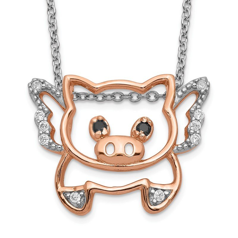 Cheryl M Cheryl M 18in Sterling Silver Rose-gold Plated CZ Flying Pig Necklace