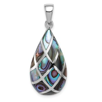 Sterling Silver Rhodium-plated Polished Teardrop Abalone Pendant
