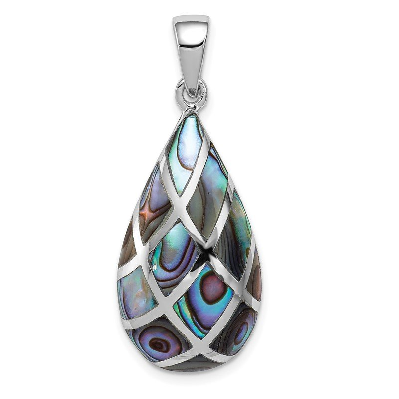 Quality Gold Sterling Silver Rhodium-plated Polished Teardrop Abalone Pendant